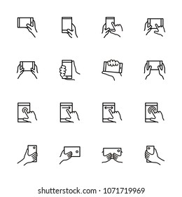 Line icon set of smartphone touchscreen instruction. Hand gesture while holding smartphone. Finger touching phone screen. Editable stroke vector EPS 10. Isolated at white background. Pixel Perfect