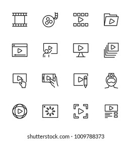 Line icon set of video production or publishing activity and symbol illustration. Isolated vector at white background and editable stroke