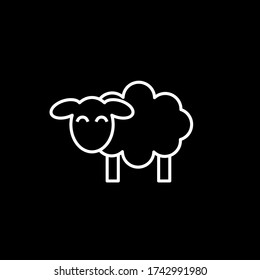 Line icon sheep side on black background