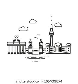 Line Icon style Berlin cityscape vector illustration