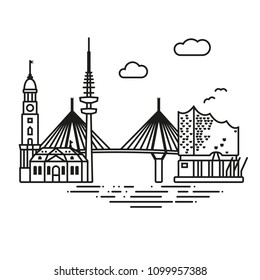 Line Icon style Hamburg city flat vector illustration
