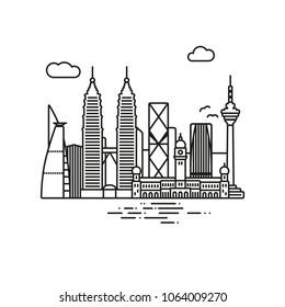 Line Icon style Kuala Lumpur cityscape vector illustration