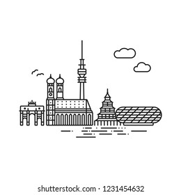 Line Icon style Munich cityscape and landmarks vector illustration