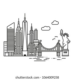 Line Icon style New York City skyline vector illustration