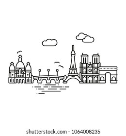 Line Icon style Paris city vector illustration