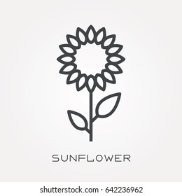 Line icon sunflower