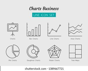 line icon symbol set, business charts concept, pie, doughnut, bar, line, area, radar, tree maps, Isolated flat outline vector design