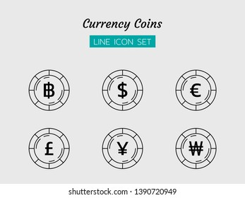 line icon symbol set, business currency coins concept, baht, Yen, Won, pounds, Euro, dollar, Isolated flat outline vector design