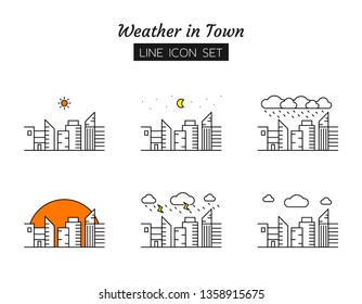 line icon symbol set, weather in town concept, office buildings view landscape, daytime, sun, night, moon, rain, cloud, forecast, sky, Isolated flat outline vector design
