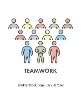 Line icon teamwork. Vector symbol for web and site