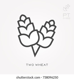 Line icon two wheat sheaves
