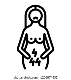 A line icon vector of period cramps