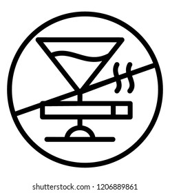 A line icon vector of stop alcoholism