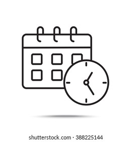 Line icon-office clock with calendar