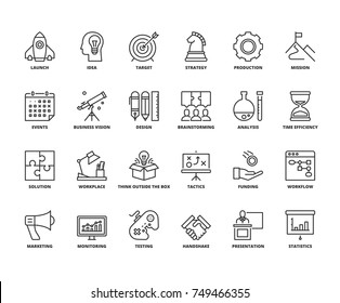 Line icons about business process. Editable stroke. 64x64 pixel perfect.