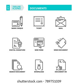 Line icons about documents