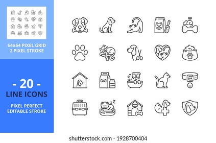 Line icons about dogs and cats. Contains such icons as domestic animals, food, insurance, veterinarian and pet care. Editable stroke. Vector - 64 pixel perfect grid