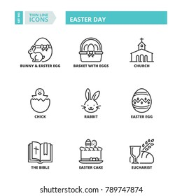 Line icons about Easter day