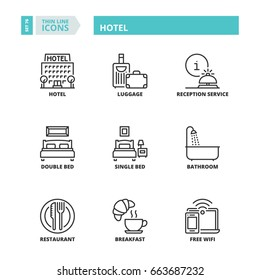 Line icons about Hotel.