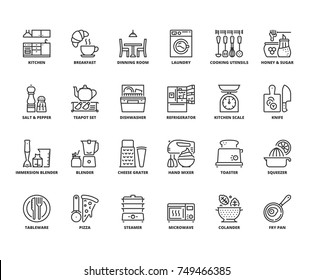 Line icons about kitchen. Editable stroke. 64x64 pixel perfect.