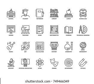 Line icons about school. Editable stroke. 64x64 pixel perfect.