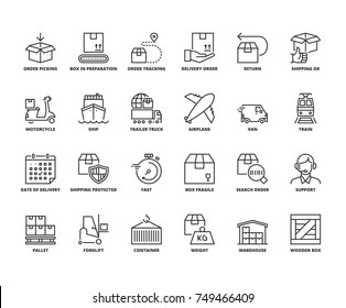 Line icons about shipping. Editable stroke. 64x64 pixel perfect.