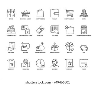 Line icons about shopping. Editable stroke. 64x64 pixel perfect.
