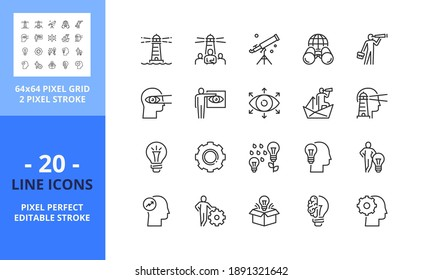 Line icons about vision and innovation. Contains such icons as businessman, idea, creativity, entrepreneurship, motivation and developing. Editable stroke. Vector - 64 pixel perfect grid.