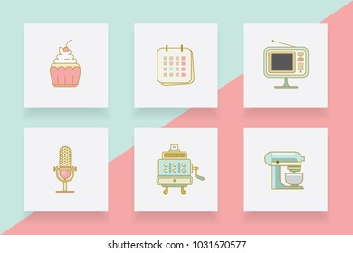 Line icons collection of cupcake, calendar, retro tv, microphone, cash register and blender