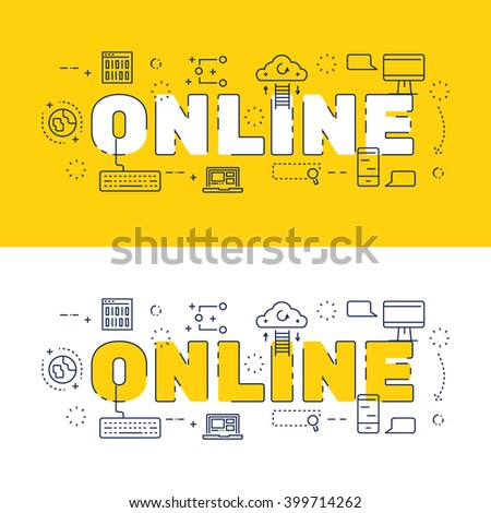 Line Icons Design Words Online Elements Stock Vector Royalty Free