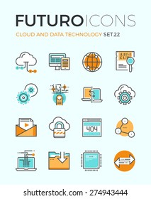 Line icons with flat design elements of cloud computing technology, big data analysis, global network connection, computer communication. Modern infographic vector logo pictogram collection concept.