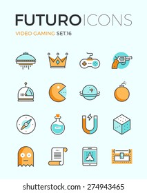 Line icons with flat design elements of video game objects, indie gaming develop, videogame items, gamepad console, resources gathering. Modern infographic vector logo pictogram collection concept.