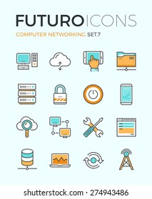 Line icons with flat design elements of computer network technology, cloud computing networking, server database, technical instruments. Modern infographic vector logo pictogram collection concept.