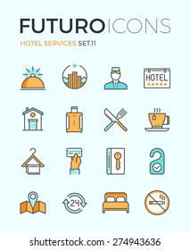 Line icons with flat design elements of major hotel service facilities, luxury resort accommodation, motel facility and hostel amenities. Modern infographic vector logo pictogram collection concept.