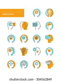 Line icons with flat design elements of mental health and autism problem, human brain process, people mind transformation, head thinking. Modern infographic vector logo pictogram collection concept.