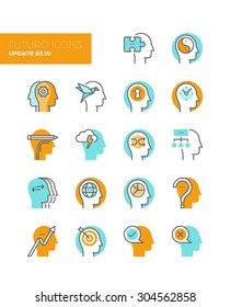 Line icons with flat design elements of human solution provider, teamwork strategy brainstorming, human profile management, head thinking. Modern infographic vector logo pictogram collection concept.