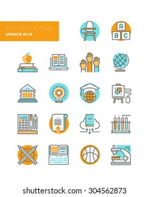 Line icons with flat design elements of education technology for teaching online, studying books with cloud library, innovation research. Modern infographic vector logo pictogram collection concept.