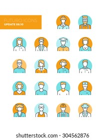 Line icons with flat design elements of people avatars profession, professional human occupation, basic characters set, employee variety. Modern infographic vector logo pictogram collection concept.