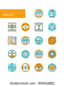 Line icons with flat design elements of 3D printing technology, digital manufacturing modeling and sketching, graphic modification tools. Modern infographic vector logo pictogram collection concept.
