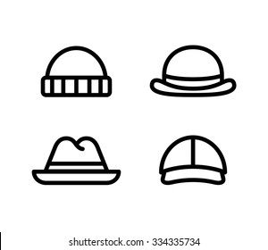 Line icons of four mens hats. Isolated vector illustration.