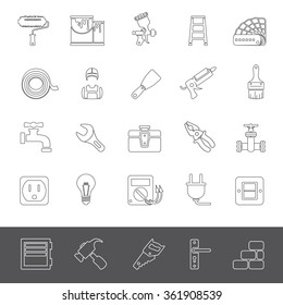 Line Icons - House painting and home repair