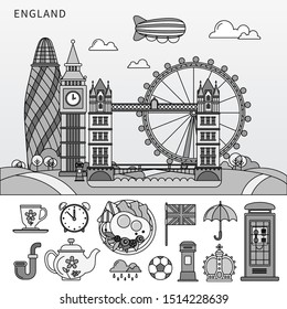 Line icons monochrome design of Big Ben, Tower Bridge, Ferris wheel. English attributes in the phone booth, umbrella, crown, tea pot isolated on white