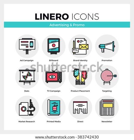 line icons set advertising media marketing のベクター画像素材