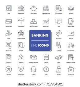 Line icons set. Banking pack. Vector illustration.
