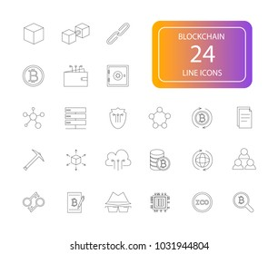 Line icons set. Blockchain pack. Vector illustration