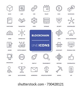 Line icons set. Blockchain pack. Vector illustration. Vector illustration with elements for crypto technology.