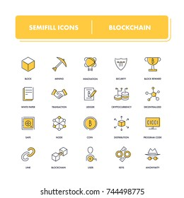 Line icons set. Blockchain pack. Vector illustration with elements for crypto technology.