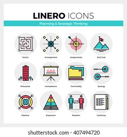 Line icons set of business goals planning, strategic thinking. Modern color flat design pictogram collection. Outline vector concept of mono stroke symbol pack. Premium quality web graphics material.