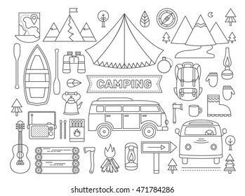 Line Icons Set Of Camping Adventure Outdoors Collection Elements Tent Minibus Boat