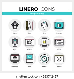 Line icons set of computer programming and software develop. Modern color flat design linear pictogram collection. Outline vector concept of stroke symbol pack. Premium quality web graphics material.
